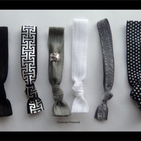 6 FOIL Hair TIES - White and Black w/Foil Print, Frosted Glitter, Polka Dot Tie, VALENTINE Gift No Tug elasatic Yoga
