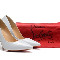 Christian Louboutin White Pointed High Heels 80mm