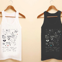 One Direction Louis Tomlinson Tattoos unisex tank top for size S-3XL, color available black and white