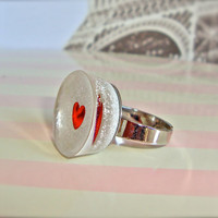 White and red heart resin ring - small white ring - minimalist - resin ring by Sparkle City Jewelry