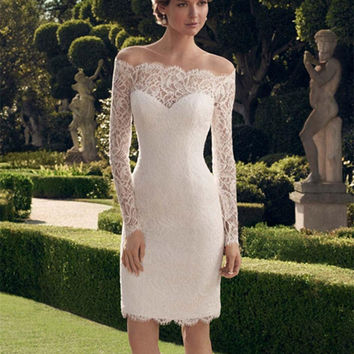 fashion simple short cocktail dresses 2016 boat neck long sleeves lace wedding party gown slim prom gowns for cocktail party