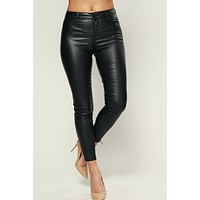 Just Zip It Faux Leather Pants (Black)