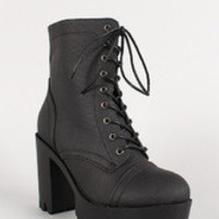 Leatherette Lace Up Lug Sole Platform Boot