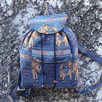 Blue Backpack Aztec Ikat Tribal Elephant Print Woven Boho Hippie Design Nepali Handwoven Patterns Handmade Bags For School Laptop Travel