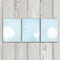 Light blue Dandelion decor Wall art Poster print Printable Dandelion Set of 3 Home decor Bedroom decor Modern Abstract Flower DOWNLOAD