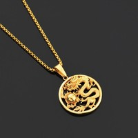 Myth Evil Dragon Ball Pendant Necklaces Stainless Steel Mens Necklace & Pendant Punk Jewelry Titanium Steel Chain Gold Silver