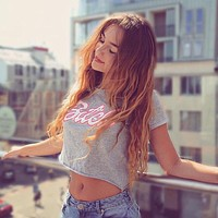 Women Loose Casual Print Letter Short Sleeve T-shirt Crop Tops