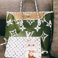 Hipgirls Louis Vuitton LV Fashion New Lady Printed Cartoon Letter Three-Piece Handbag Shoulder Bag