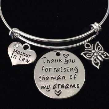 Mother in Law Thank you for Raising the Man of My Dreams Expandable Charm Bracelet Bangle Wedding Gift