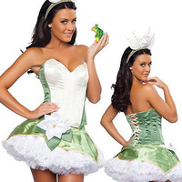 Green Strapless Lace Ruffled Dress Corset Costume