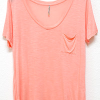 Perfectly Imperfect One-Pocket Shabby Tee, Melon