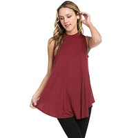 Women Mock Neck Sleeveless Tank Flared Hem Tunic Top W/ Loose Fit