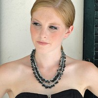 Elegant Black Spinel Necklace / Peacock Blue Freshwater Pearls / Double Strand / Gemstone Teardrops / Sterling Silver / Gifts For Her / OOAK