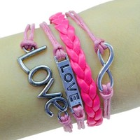 LUOS Fashion vintage silvertone Loveband love infinity charms hot pink braided leather rope bracelet:Amazon:Jewelry