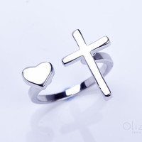 """Silver cross ring, heart ring, heart jewelry, Sideways Cross Ring, double ring, adjustable ring, stretch ring, religious ring, """"Telchines"""""""