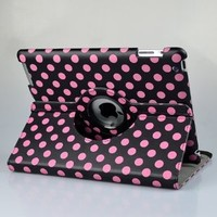BLACK & Hot PINK Dot Pattern PU Leather Case For iPad 2 & iPad 3 3rd Generation (the New iPad) With 360 Degrees Rotating Stand