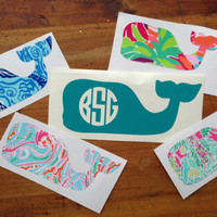 Monogram Vinyl Whale Sticker inspired by Vineyard Vines - Just for you!