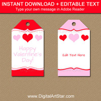 Printable Valentines Day Gift Tag Template, Red and Pink Heart Gift Tags, Valentine Birthday Favor Tags, Valentine Party Favor Tags V5