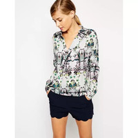 White Floral Print  Wrapped Long-Sleeve Collared Chiffon Shirt
