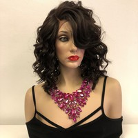 """Brown Curly Lace Front Wig   Mya 10"""""""