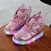 Children shoes with light Fashion glowing sneakers boys little girls shoes wings canvas flats spring kids light up shoes
