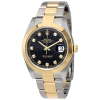 Rolex Datejust Black Diamond Dial Steel and 18K Yellow Gold Oyster Mens Watch