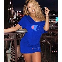 Champion Fashion New Letter Print V-Neck Leisure Short Sleeve Dress  Blue