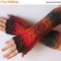 REGULAR PRICE Fingerless Gloves Wrist Warmers Mittens Red Orange Brown Burgundy Knit