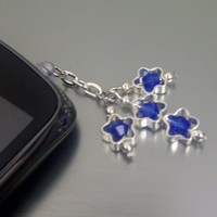 Simply Swarovski Blue Stars Cell Phone Dust Plug