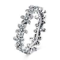 "Sterling Silver ""Pave Daisy's"" Ring"