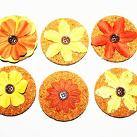 Decorative Yellow, and Red/ Brown Flower Cork Magnets - 6 Pack!