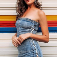 Mary Lace Up Denim Casual Dress