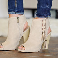 * Bailey Suede Bootie With Tie Up Side: Stone