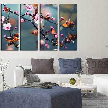 Large Wall Art Canvas Print Almond Tree Prints For Wall, 5 Panels Framed Ready to Hang, Cherry Blossom Prints On Canvas