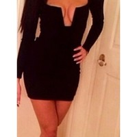 Black Long Sleeve Cut Out V Neck Zip Back Bodycon Tight Fitted Mini Dress