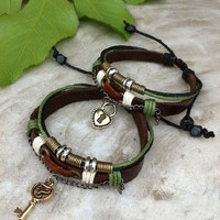 Leather Strap Retro handmade personalized gift ideas couples Bracelet lover lovers couple lock and key Valentine's Day