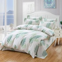 Green leaves Bedding sets 4/3pcs Comfortable Bed Sheets Duvet Cover quilt cover twin full queen king bedclothes Best-selling