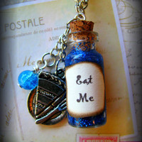 Handmade Alice in Wonderland Eat Me Glass Bottle Necklace
