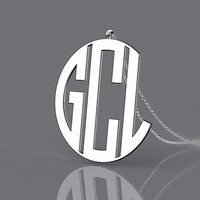 Name monogram 1.25 inch silver necklace--fashion present 925 sterling silver monogram necklace