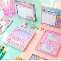 50 sheets Kawaii Pink Note Pad Fancy Computer Screen Memo Message Compact Calendar Diary Bullet Journal Planner Supply Japanese Stationery