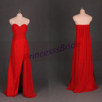 2014 long red chiffon bridesmaid gowns,simple sweetheart prom dresses,chic cheap dress for wedding party hot.