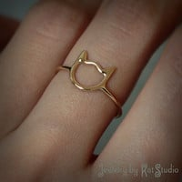 Gold cat ring - Cat  ring -solid 14k yellow gold - Jewelry by Katstudio