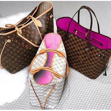 Onewel Louis Vuitton Two-Piece LV Fashion Women Shopping Leather Tote Shoulder Bag Purse Wallet Set