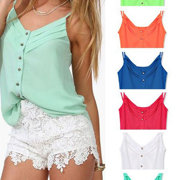 'The Jacelyn' Candy-colored Buttoned Chiffon Paneled Cami