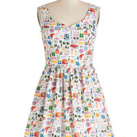 ModCloth Statement Mid-length Tank top (2 thick straps) Fit & Flare The Mod Life Dress
