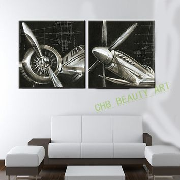 2 Panels Vintage Airplane Paintings Cheap Abstract Picture HD Printed Painting On Canvas Wall Art For Living Room Or Hotel