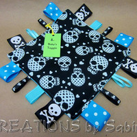 Baby Sensory Blanket Toy, Tag Blanket, Taggie, Boy, Blue, Turquoise, Green, Skulls, Hearts, Dots, Minky, Padded READY TO SHIP 128