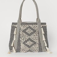 Shopper with Tassels - Black/natural white - Ladies | H&M US