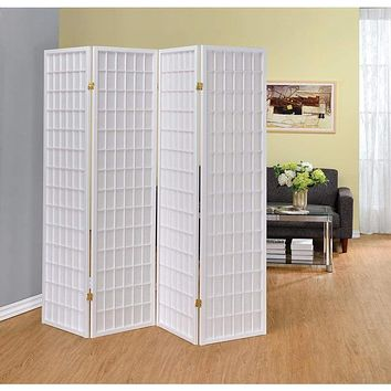 Contemporary Style Four Panel Folding Screen, White By Coaster