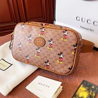 GUCCI x Disney Mickey Mouse Women Men Retro Leather Waist Bag Chest Bag Shoulder Bag Crossbody Satchel